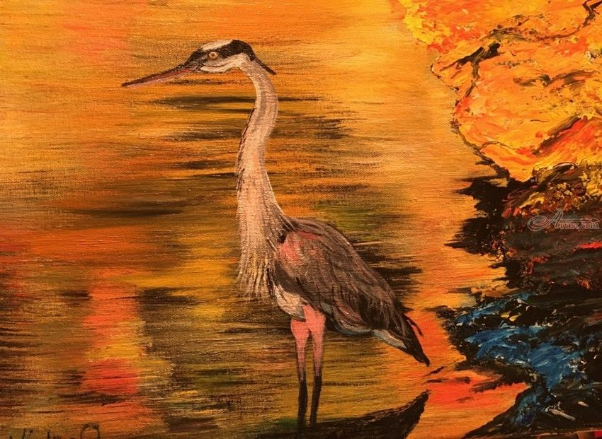 The Heron, Paintings, Expressionism, Nature, Acrylic, By victoria osley
