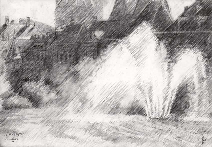 The Hofvijver (the Court's Pond) - 10-06-14, Drawings / Sketch, Abstract, Fine Art, Impressionism, Realism, Architecture, Cityscape, Composition, Figurative, Inspirational, Landscape, Pencil, By Corne Akkers