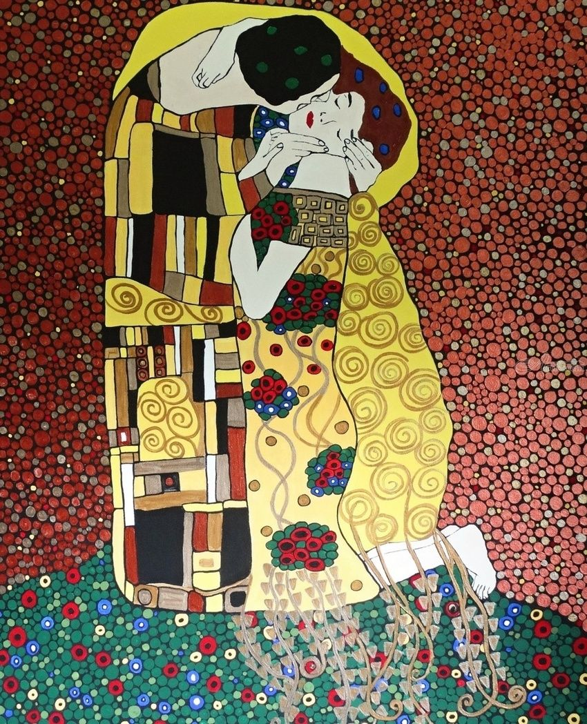 The Kiss, art inspired from Gustav Klimt, Paintings, Expressionism, Fine Art, Romanticism, Portrait, Canvas, By Rachel Olynuk