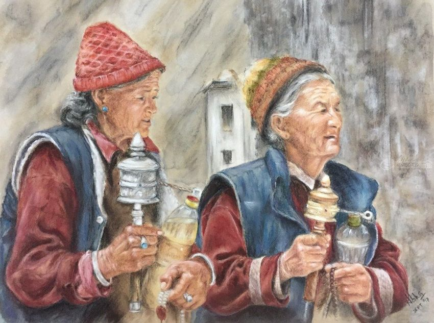 The Ladakh Ladies, Drawings / Sketch, Illustration, Paintings, Pastel, Fine Art, Photorealism, Realism, Anatomy, Composition, Daily Life, Figurative, People, Portrait, Religious, Spiritual, Window on the World, Mixed, Pastel, By Abha Neotia