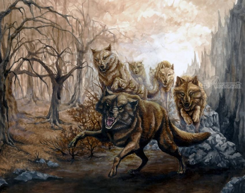 The Pack, Illustration, Paintings, Fine Art, Realism, Animals, Fantasy, Grotesque, Wildlife, Acrylic, By Rebecca Suzanne Magar