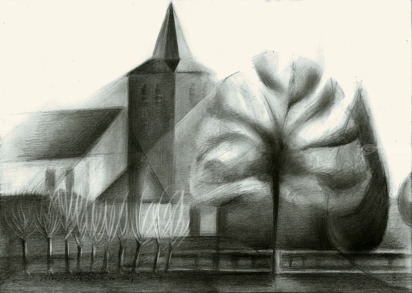 The protestant church at De Ooij, Gelderland, Netherlands - 27-01-16, Drawings / Sketch, Abstract,Cubism,Fine Art,Impressionism,Realism,Surrealism, Architecture,Composition,Figurative,Inspirational,Landscape, Pencil, By Corne Akkers