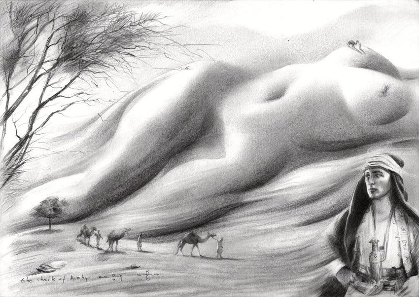The sheik of Araby - 15-10-17, Drawings / Sketch, Abstract, Fine Art, Impressionism, Realism, Surrealism, Anatomy, Composition, Erotic, Fantasy, Figurative, Inspirational, Landscape, Nature, Nudes, People, Pencil, By Corne Akkers