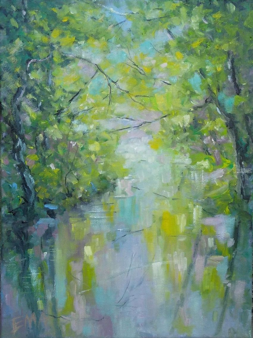 The spring and the river are talking about light, Paintings, Fine Art, Impressionism, Land Art, Landscape, Moving Images, Canvas, Oil, By Emilia Milcheva