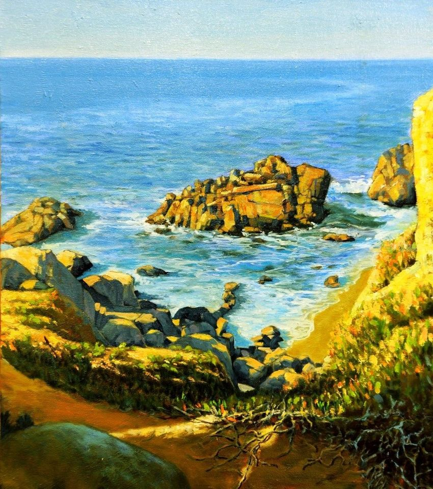 The sunlighted beach, Paintings, Hallucinogens, Seascape, Canvas, Oil, By Mason Mansung Kang