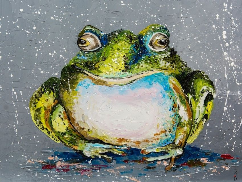 THE TOAD, Paintings, Realism, Animals, Fiber, By Liubov Kuptsova