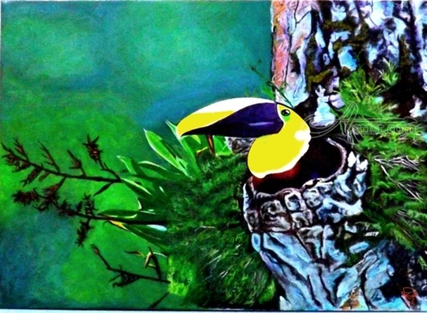 The Toucan, Paintings, Realism, Animals,Landscape,Nature,Tropical,Wildlife, Acrylic, By OLIVER MACHADO