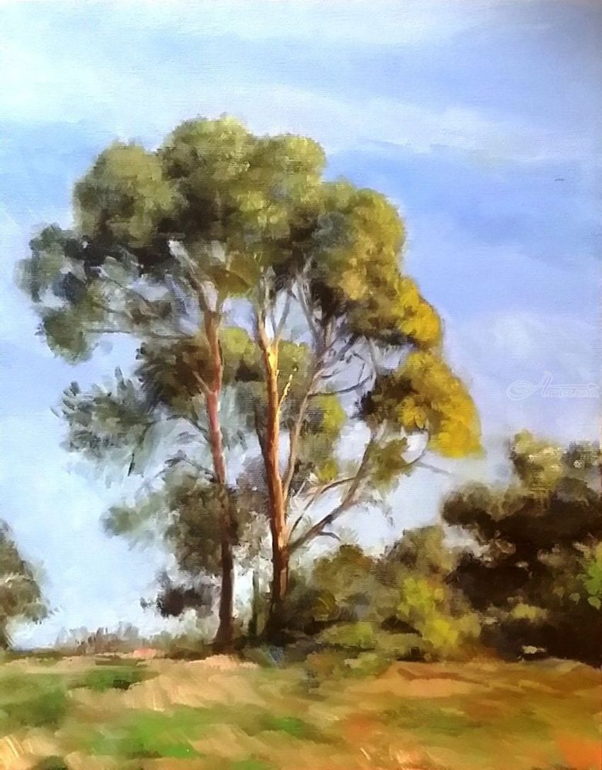 The Two Trees, Paintings, Impressionism, Landscape, Canvas, Oil, By Mason Mansung Kang