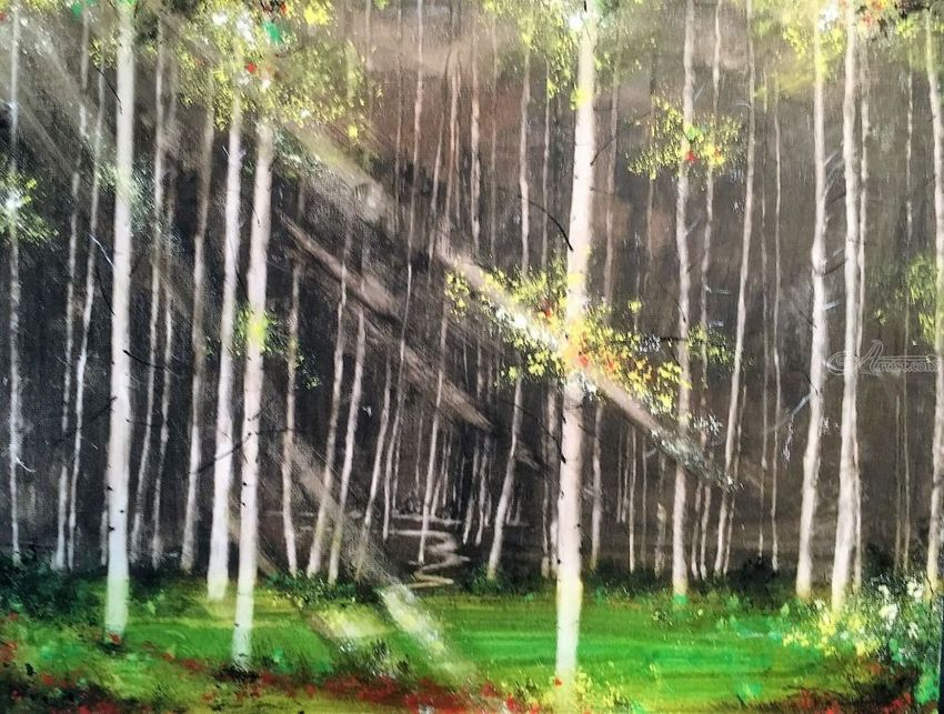 The Woods, Paintings, Impressionism, Landscape, Watercolor, By Stephen Keller
