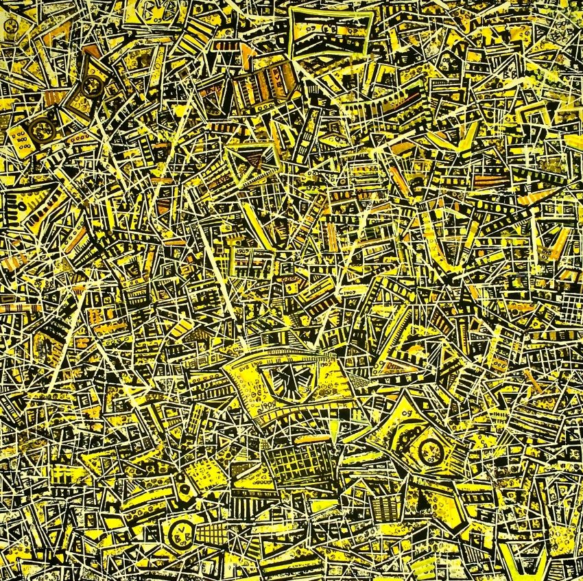 The Yellow Wall, Paintings, Abstract,Cubism,Expressionism,Fine Art,Futurism,Impressionism,Modernism,Pop Art, Composition,Narrative,People, Acrylic,Canvas, By Ben Mosley