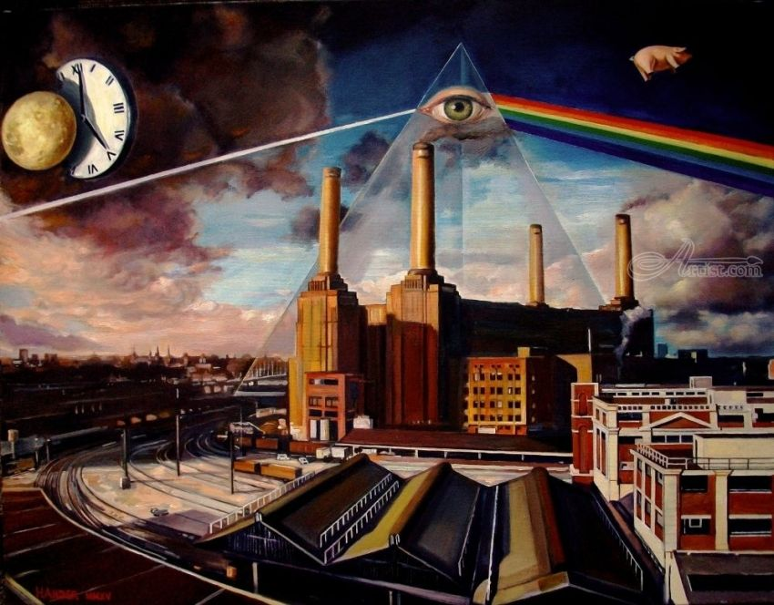 There is no dark side of the moon really?, Paintings, Fine Art, Music, Canvas,Oil,Painting, By Andrew Khalturin