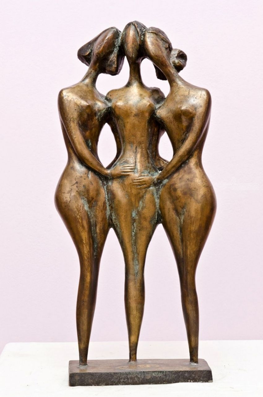 Three friends, Sculpture, Abstract, Nudes, Bronze, By ZAKIR AHMEDOV
