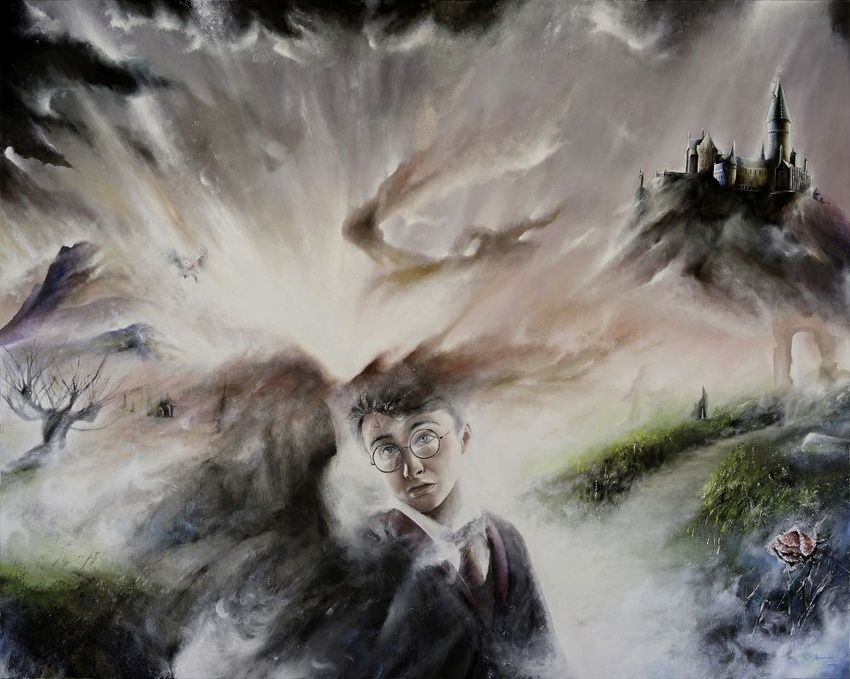 Through Harry Potter, Paintings, Fine Art,Impressionism,Surrealism,Symbolism, Documentary,Fantasy,Figurative,Landscape,Narrative, Painting, By Alessandro Serra