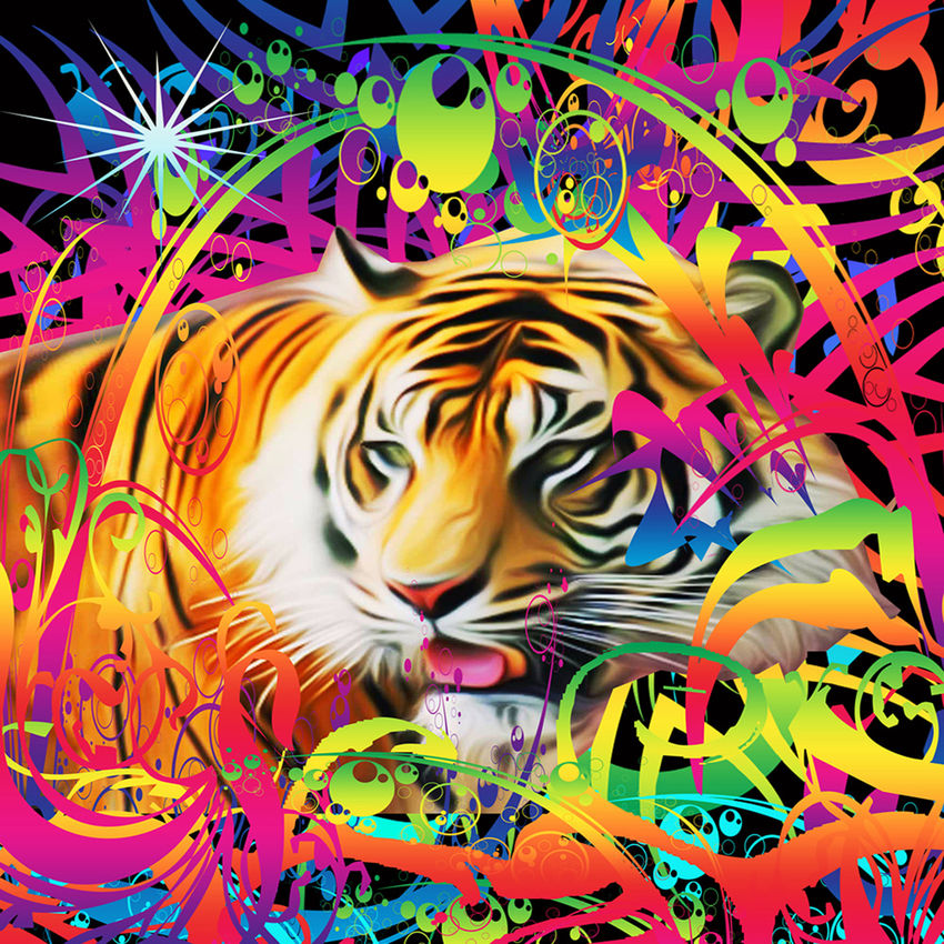 Tiger in the Jungle, Digital Art / Computer Art, Commercial Design, Hallucinogens, Modernism, Avant-Garde, Fantasy, Figurative, Wildlife, Digital, By Matthew Lacey