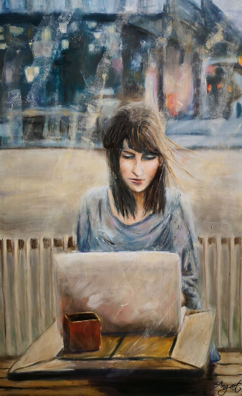 Till I'm Waiting For You, Paintings, Fine Art, Impressionism, Cityscape, Figurative, Portrait, Oil, Wood, By Angela Suto