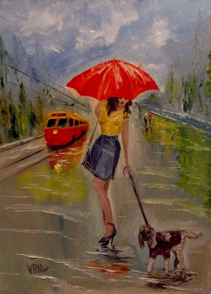 Time to go home, Paintings, Impressionism, Cityscape,Daily Life, Canvas,Oil, By Valeriy Politov