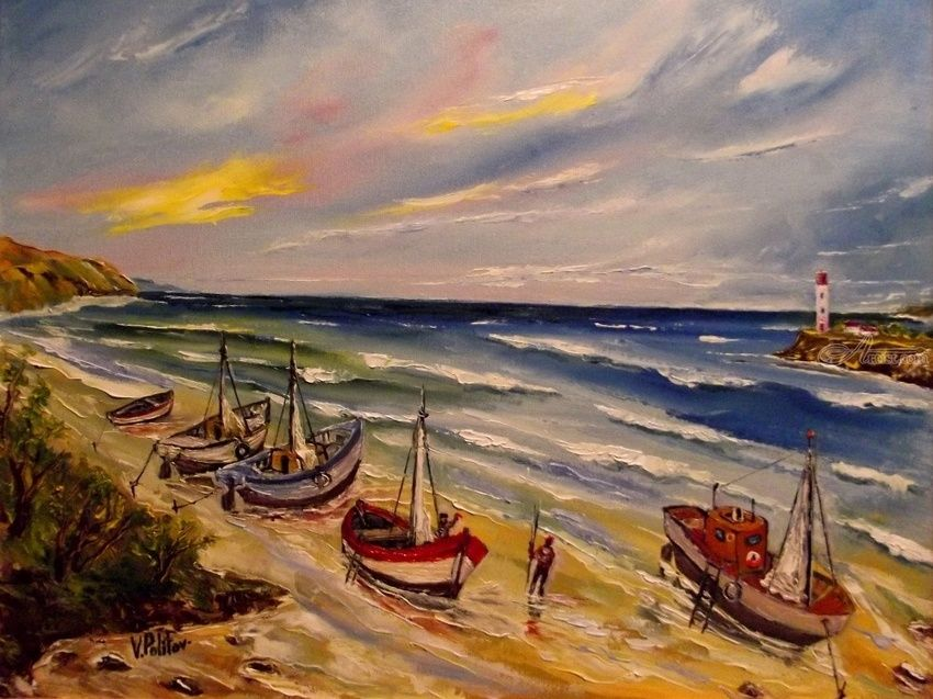 TOMORROW IN THE SEA .., Paintings, Impressionism, People,Seascape, Canvas,Oil, By Valeriy Politov