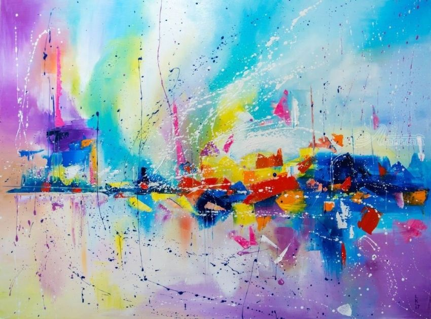 TRAVEL OF COLOR, Paintings, Abstract, Fantasy, Canvas, Oil, By Liubov Kuptsova