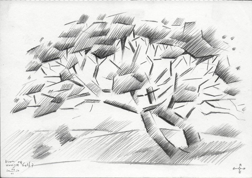 Tree at The Hague Golf 7 - 04-06-14, Drawings / Sketch, Abstract,Cubism,Fine Art,Impressionism,Realism, Composition,Figurative,Inspirational,Landscape,Nature, Pencil, By Corne Akkers