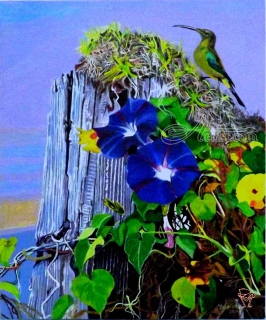 Trumpet Flowers and a Sunbird, Paintings, Realism, Animals,Botanical,Nature, Acrylic, By OLIVER MACHADO