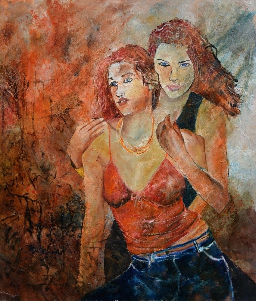Two friends 67, Paintings, Impressionism, Erotic, Canvas, By Pol Henry Ledent