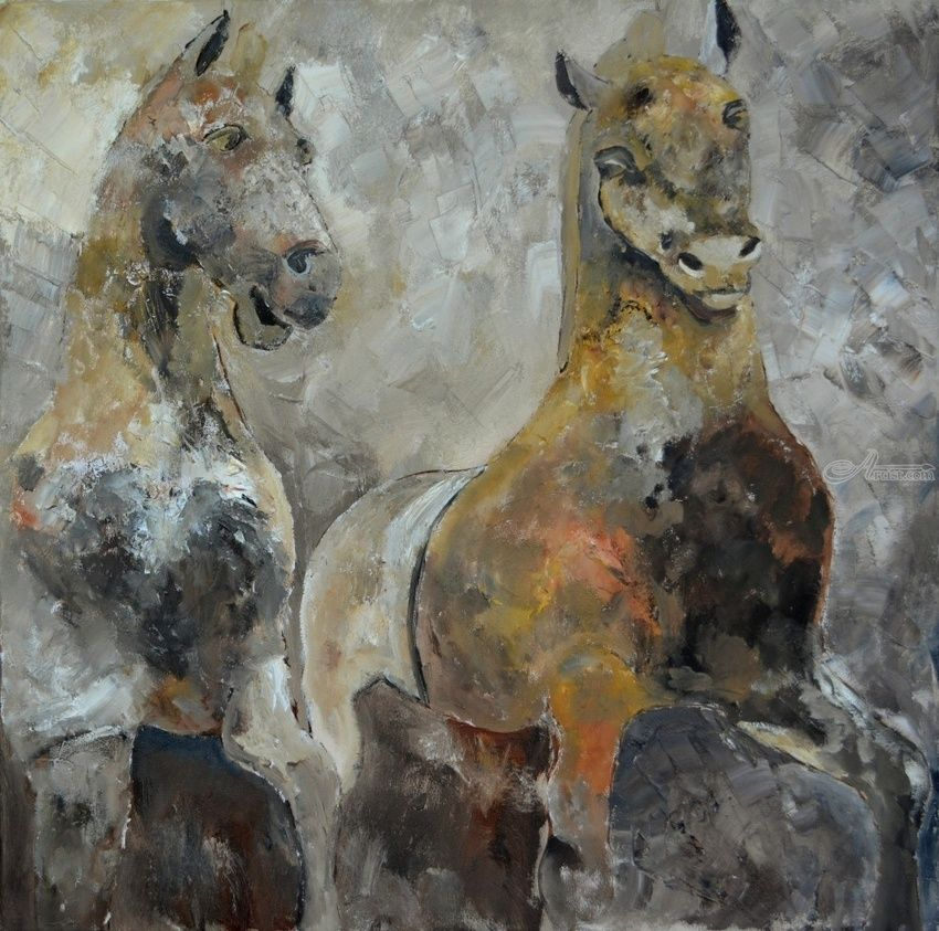 two horses, Paintings, Existentialism, Decorative, Canvas, By Pol Henry Ledent