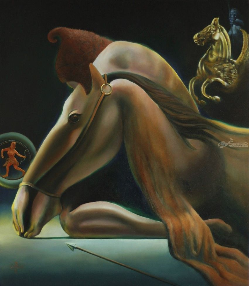 Una in aliam – 01-09-19, Paintings, Fine Art, Surrealism, Anatomy, Animals, Composition, Erotic, Fantasy, Figurative, Historical, Inspirational, Nudes, People, Oil, By Corne Akkers
