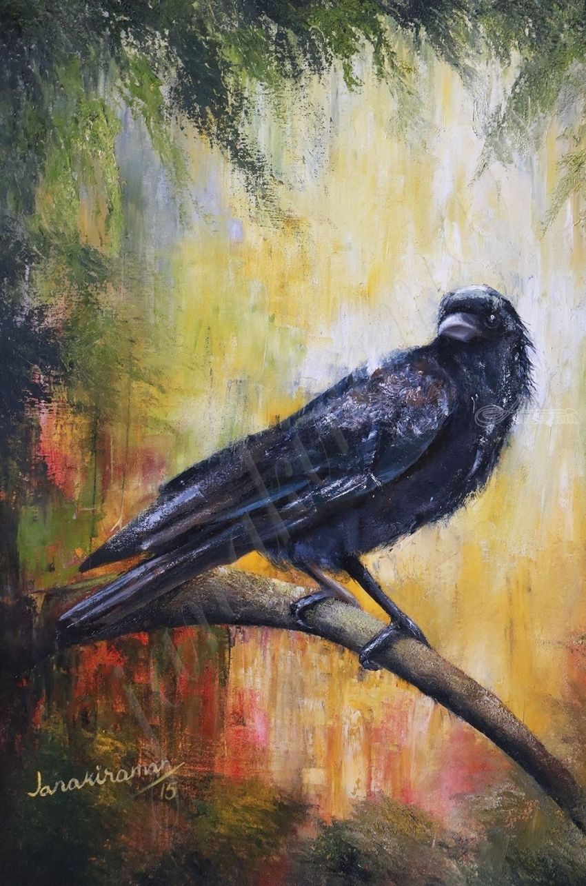 Uninvited Guest, Paintings, Expressionism, Wildlife, Oil, By Janakiraman B