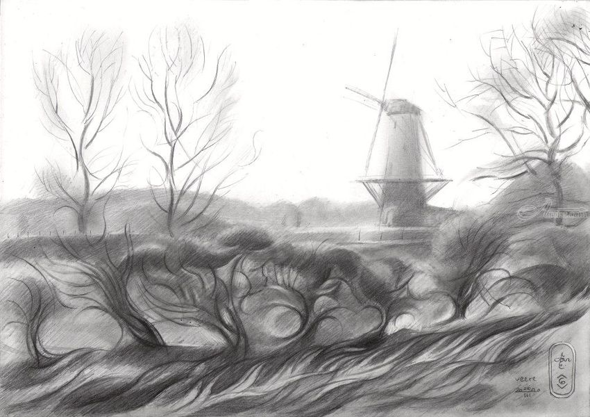 Veere – 26-03-20, Drawings / Sketch, Cubism, Fine Art, Impressionism, Realism, Architecture, Cityscape, Composition, Figurative, Historical, Inspirational, Landscape, Pencil, By Corne Akkers