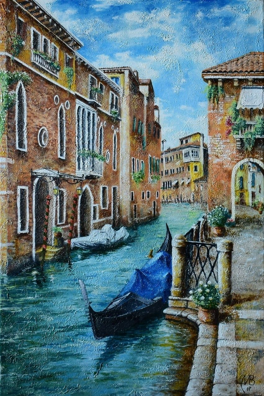 Venice. Morning, Paintings, Expressionism,Realism, Cityscape,Inspirational,Landscape, Canvas,Oil, By Nikolay Velikiy