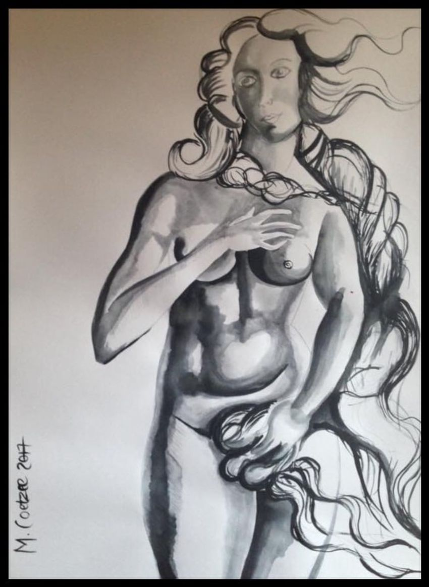 Venus, Drawings / Sketch, Minimalism, Figurative, Ink, By Megan Coetzee