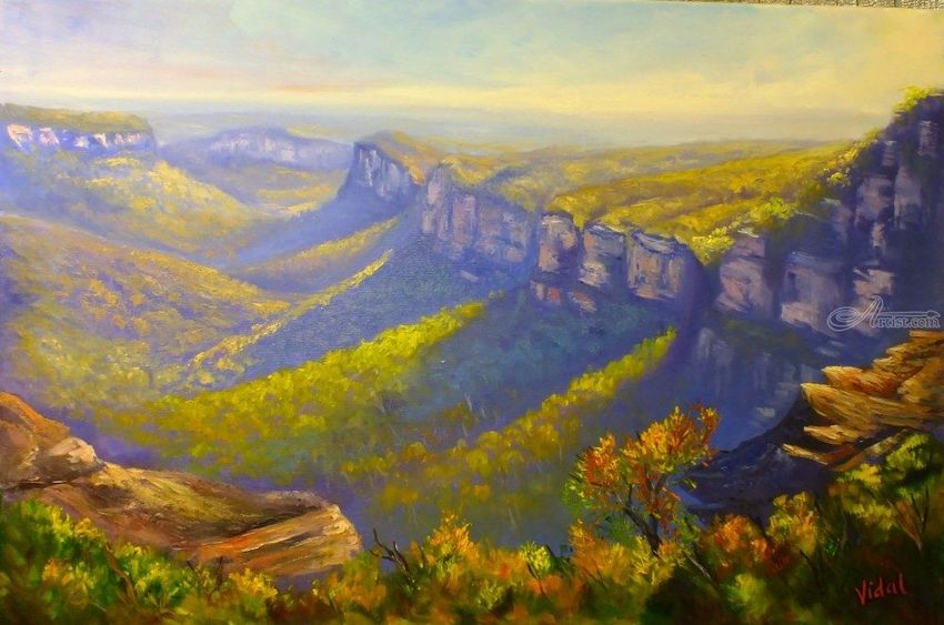 View of the Grose Valley from Mount Banks Traverse, Paintings, Fine Art, Impressionism, Realism, Landscape, Canvas, Oil, By Christopher Vidal