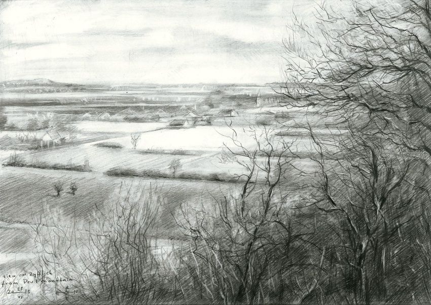 View on Zyfflich from Devil's mountain - 04-04-15 (sold), Drawings / Sketch, Fine Art,Impressionism,Realism, Composition,Figurative,Inspirational,Landscape,Nature, Pencil, By Corne Akkers