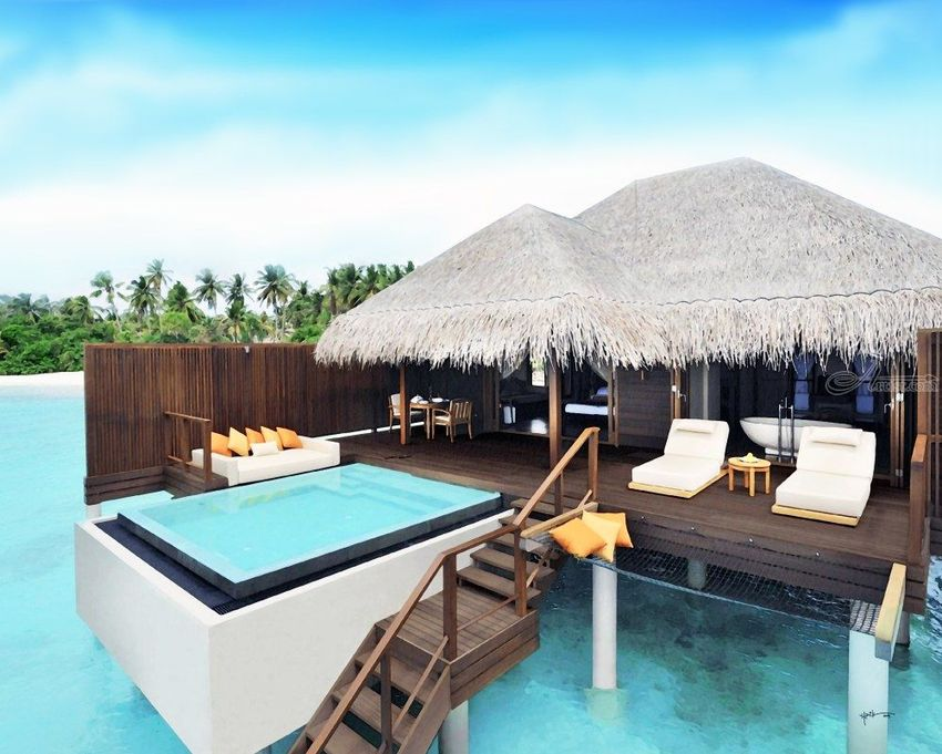 Villa With Jacuzzi / Maldives, Paintings, Fine Art, Architecture, Watercolor, By Angelo