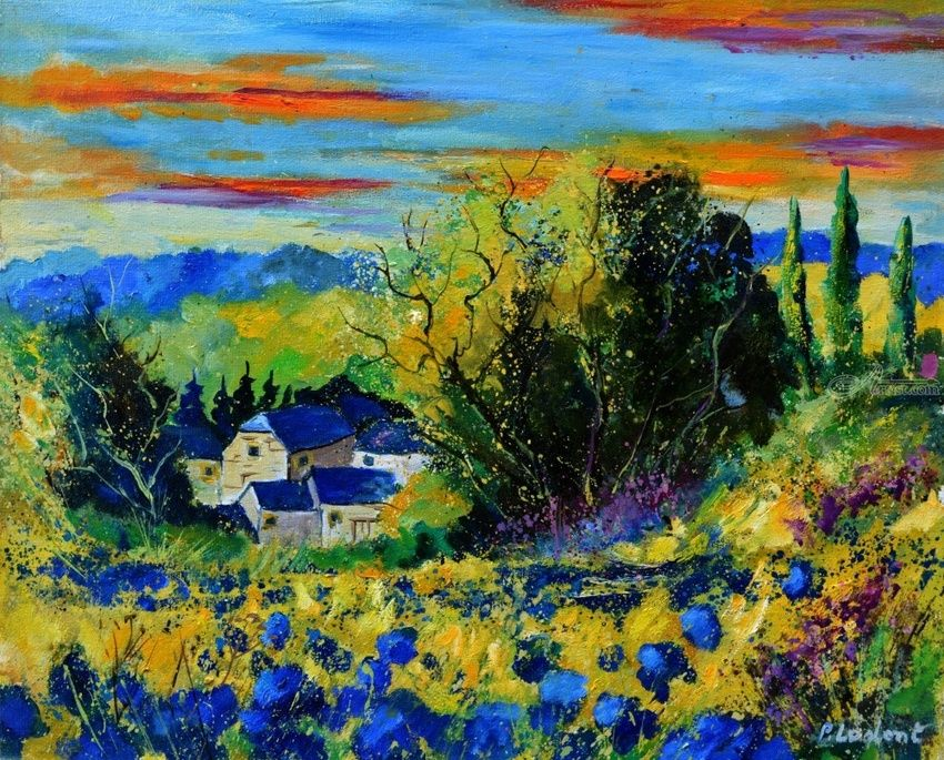 Village amid flowers 65, Paintings, Expressionism, Landscape, Canvas, By Pol Henry Ledent