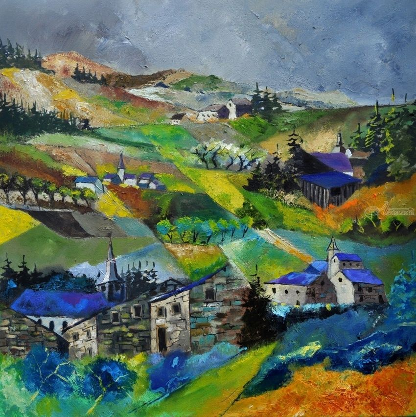 Villages 7741, Paintings, Impressionism, Landscape, Canvas, By Pol Henry Ledent