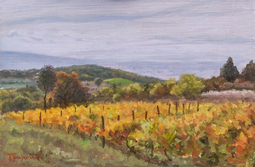 Vineyard in Late October, Paintings, Fine Art, Impressionism, Realism, Landscape, Nature, Oil, Wood, By Dejan Trajkovic