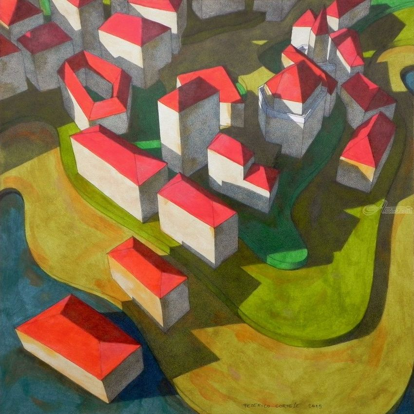 Virtual model, Architecture, Graphic, Paintings, Expressionism, Fine Art, Surrealism, Architecture, Cityscape, Oil, Painting, Pencil, By federico cortese