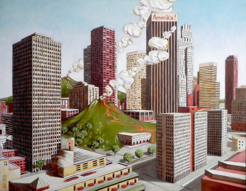 Volcano in Los Angeles, Architecture, Paintings, Fine Art, Surrealism, Architecture, Oil, By federico cortese