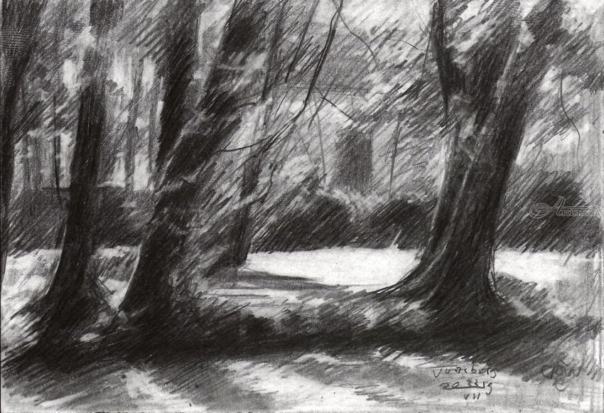 Voorburg – 23-07-19, Drawings / Sketch, Fine Art, Impressionism, Realism, Composition, Inspirational, Landscape, Nature, Pencil, By Corne Akkers