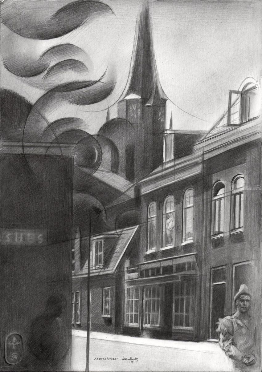Voorschoten – 11-03-19, Drawings / Sketch, Cubism, Fine Art, Impressionism, Realism, Surrealism, Anatomy, Architecture, Cityscape, Composition, Fantasy, Figurative, Inspirational, People, Pencil, By Corne Akkers