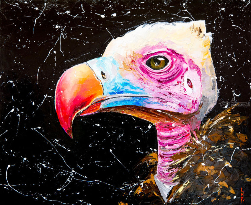 Vulture (framed), Paintings, Impressionism, Animals, Oil, By Liubov Kuptsova