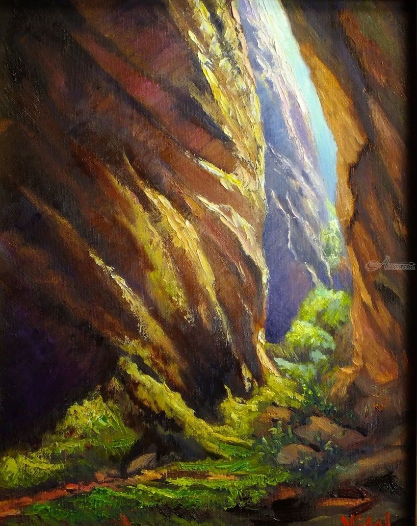 Warm lights canyoning at Blue Mountains, Paintings, Fine Art, Impressionism, Realism, Landscape, Canvas, Oil, By Christopher Vidal