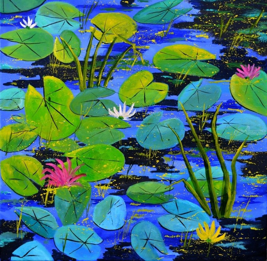 water lilies 88, Paintings, Expressionism, Botanical, Canvas, By Pol Henry Ledent