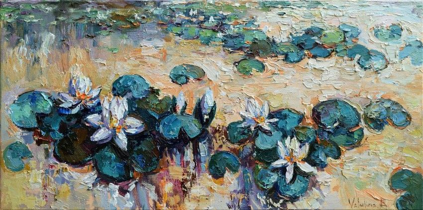 Water lilies - Original Oil painting - 90 x 45 cm, Paintings, Fine Art,Impressionism, Floral, Oil, By Anastasiya Valiulina