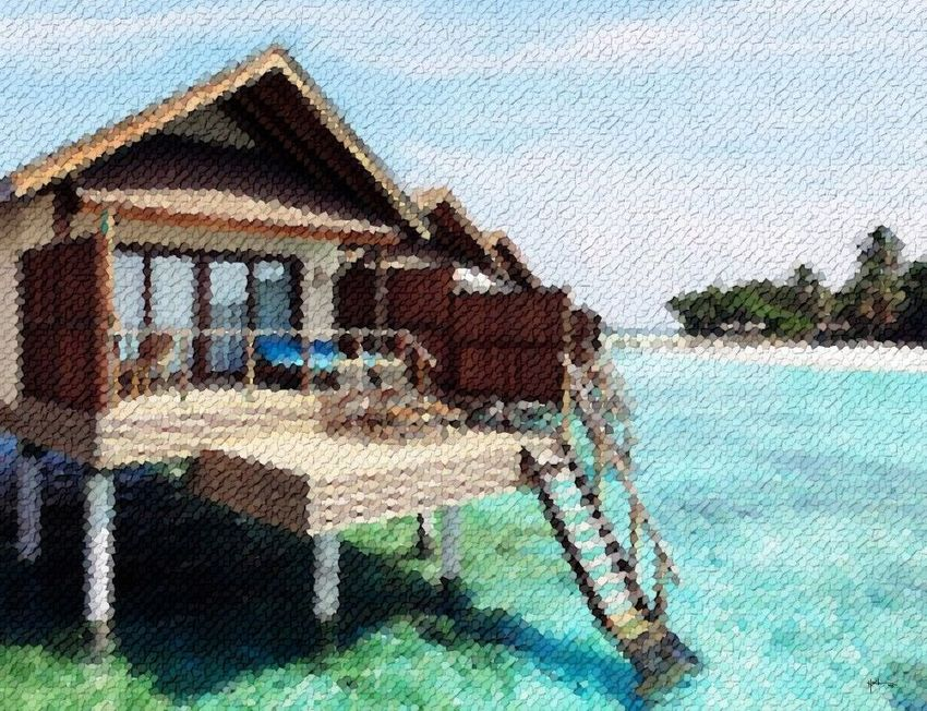 Water-villa-maldives, Collage, Abstract, Window on the World, Mixed, By Angelo
