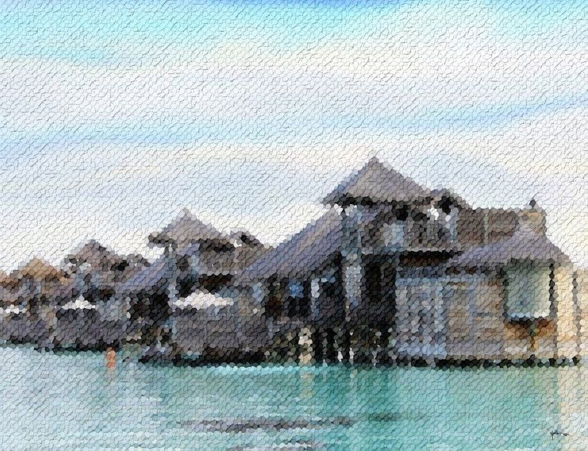 Water-villas-of-maldives, Collage, Abstract, Window on the World, Mixed, By Angelo