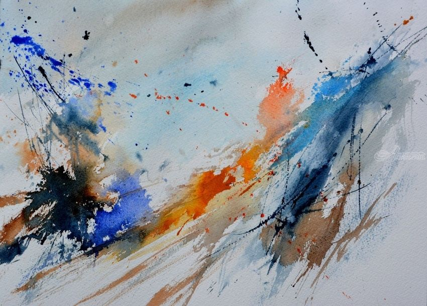watercolor 1071, Paintings, Abstract, Decorative, Canvas, By Pol Henry Ledent