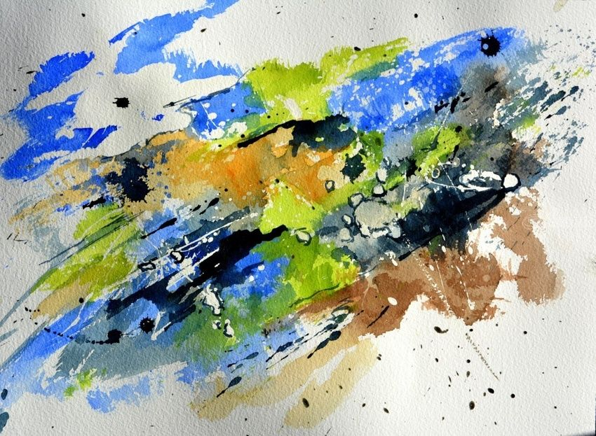 Watercolor 1271, Paintings, Abstract, Decorative, Watercolor, By Pol Henry Ledent
