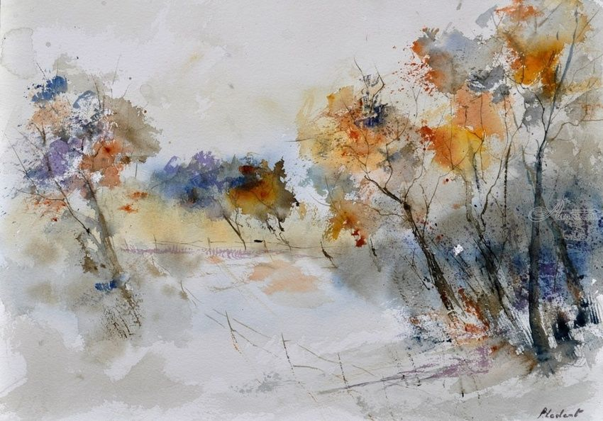 watercolor 418022, Paintings, Impressionism, Landscape, Watercolor, By Pol Henry Ledent